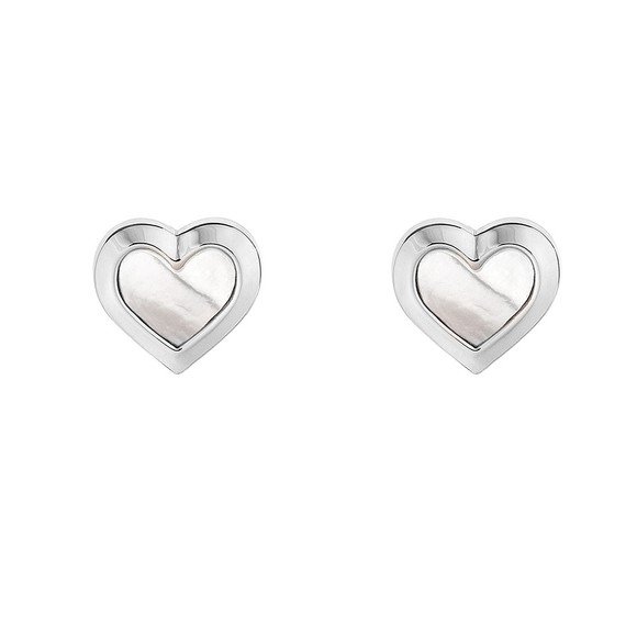 Ted Baker Womens Silver Heila Mother of Pearl Heart Stud Earring