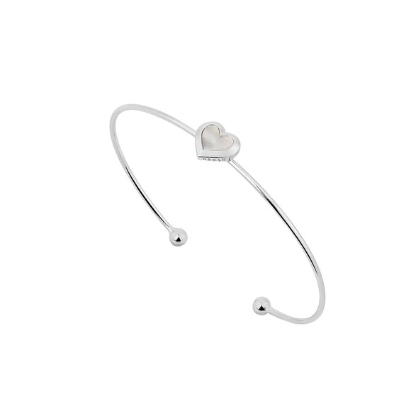Ted Baker Womens Silver Heshra Mother of Pearl Heart Cuff main image