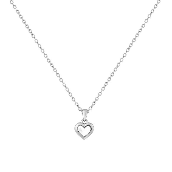 Ted Baker Womens Silver Harriot Mother of Pearl Heart Pendant