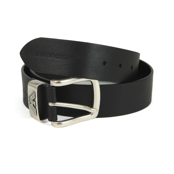 Emporio Armani Mens Black Logo Keeper Belt