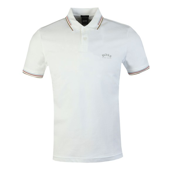BOSS Mens White Athleisure Paul Curved Polo Shirt
