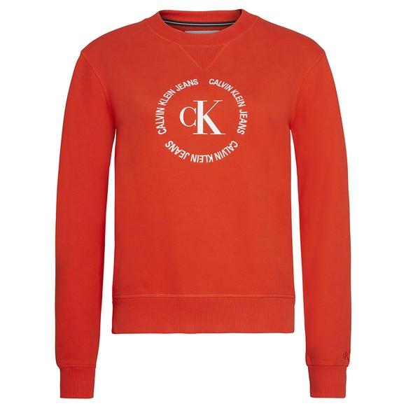 Calvin Klein Jeans Womens Red Round Logo Relaxed Sweatshirt
