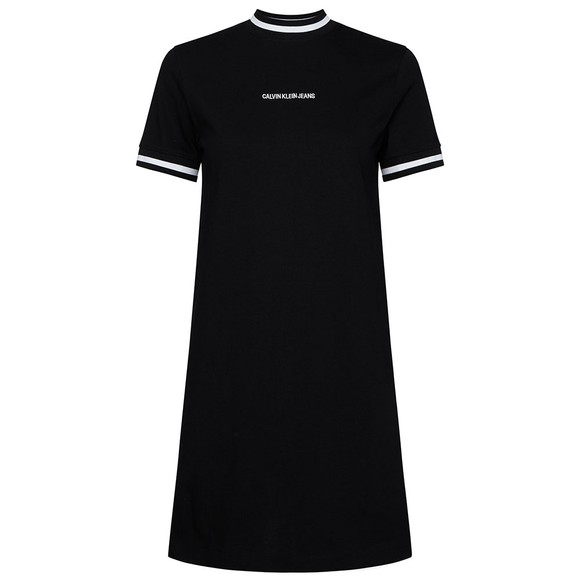 Calvin Klein Jeans Womens Black Neck And Cuff Tipping T-Shirt Dress