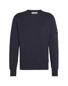 Calvin Klein Jeans Mens Blue Sleeve Badge Crew Sweatshirt