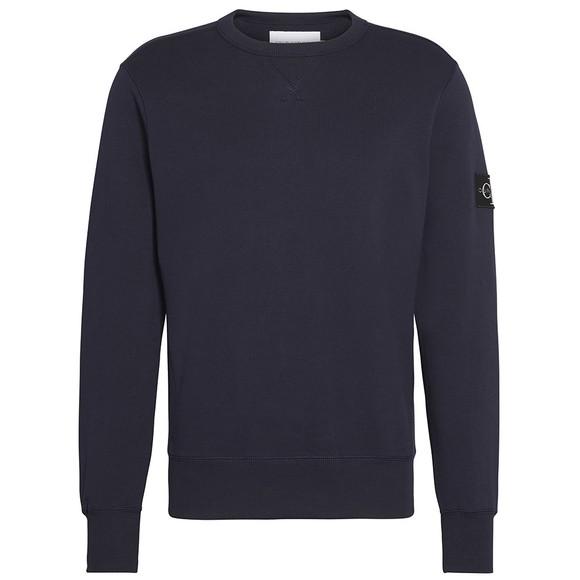 Calvin Klein Jeans Mens Blue Sleeve Badge Crew Sweatshirt main image