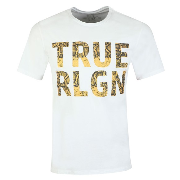 True Religion Mens White Chain Fashion T-Shirt
