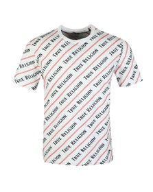 True Religion Mens White Coverstitch AOP T-Shirt