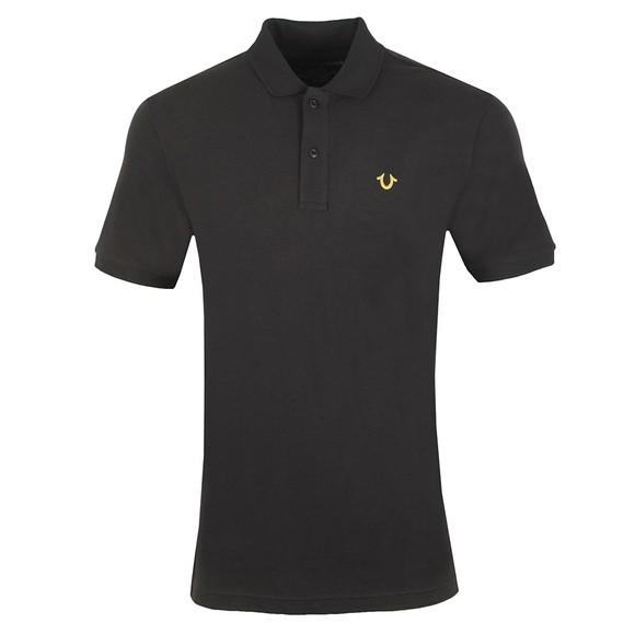True Religion Mens Black Lurex Short Sleeve Polo Shirt