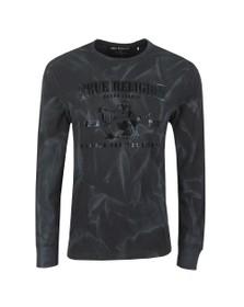 True Religion Mens Black Long Sleeve Seasonal Buddha T-Shirt