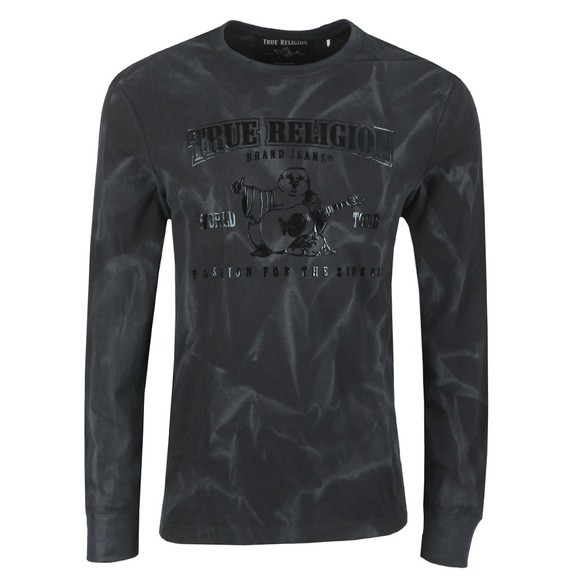 True Religion Mens Black Long Sleeve Seasonal Buddha T-Shirt