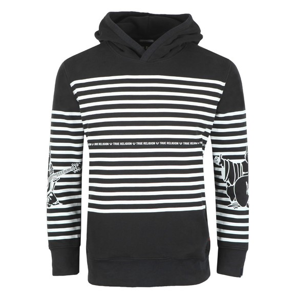 True Religion Mens Black Striped Buddha Hoody