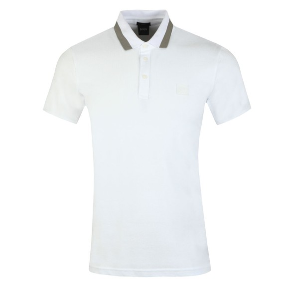 BOSS Mens White Casual PTrans Polo Shirt