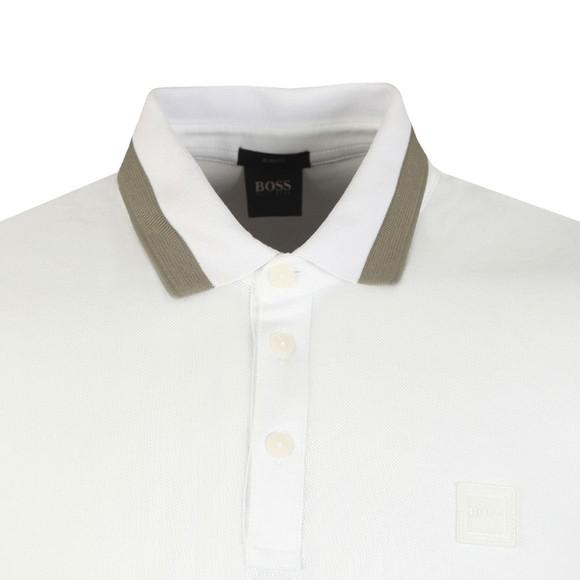 BOSS Mens White Casual PTrans Polo Shirt