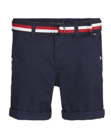Tommy Hilfiger Kids Boys Blue Essential Belted Chino Short