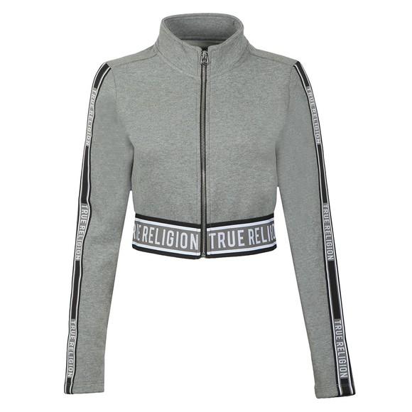 True Religion Womens Grey Branded Taping Full Zip Sweatshirt