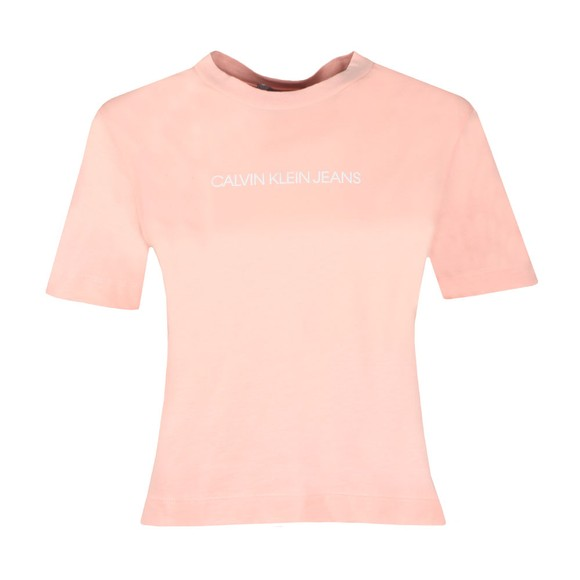 Calvin Klein Jeans Womens Pink Shrunken Institution T-Shirt