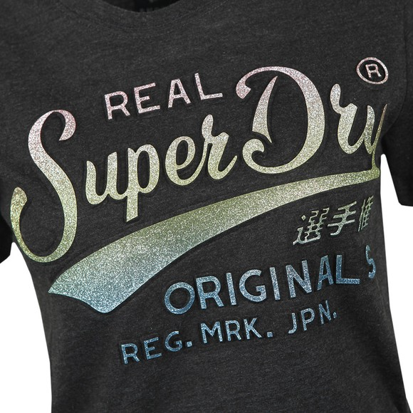 Superdry Womens Grey Glitter Emboss Entry T-shirt main image