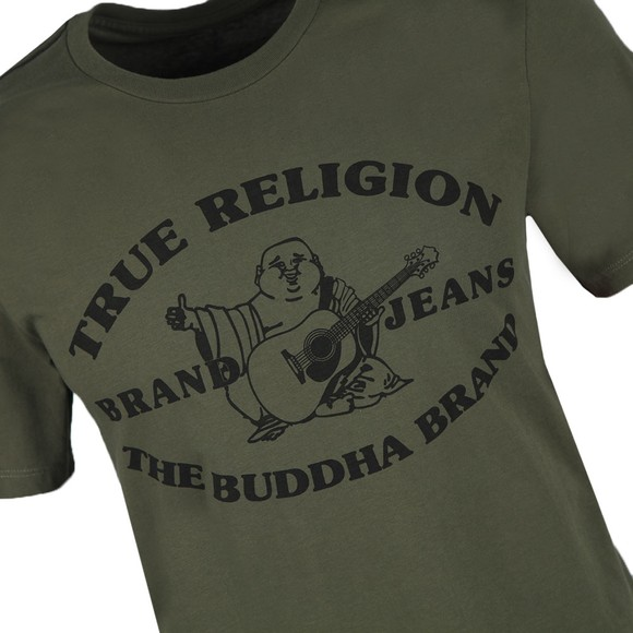True Religion Mens Green Buddha Past T Shirt