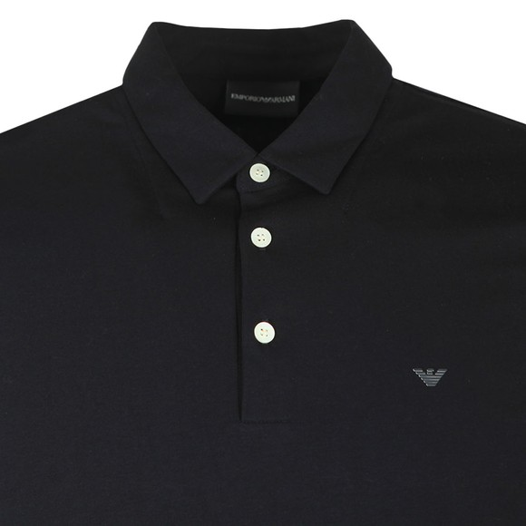 Emporio Armani Mens Black Small Logo Pima Polo Shirt