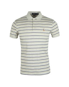 Polo Ralph Lauren Mens Grey Pima Cotton Stripe Polo Shirt