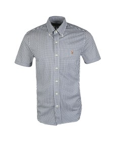 Polo Ralph Lauren Mens Blue Check Short Sleeve Knit Oxford Shirt