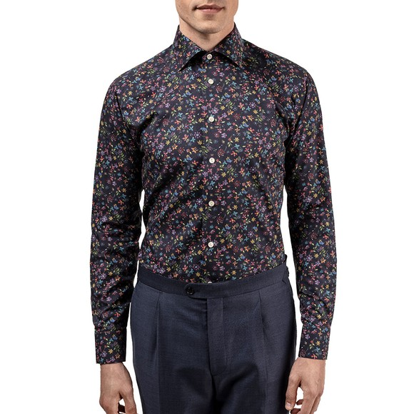 Eton Mens Blue Valley Of Flowers All Over Shirt main image