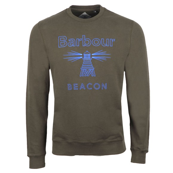 Barbour Beacon Mens Green Stitch Crew Sweatshirt
