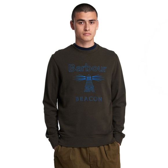 Barbour Beacon Mens Green Stitch Crew Sweatshirt main image