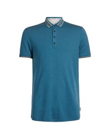 Ted Baker Mens Blue TEACUPS Striped Collar Polo