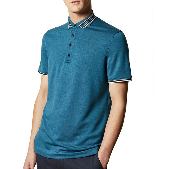 Ted Baker Mens Blue TEACUPS Striped Collar Polo main image