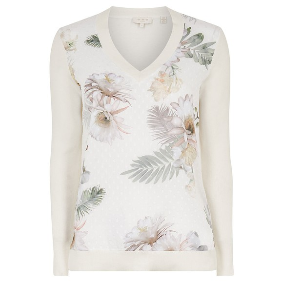 Ted Baker Womens Off-White Kaylaaa Woodland Woven Front Jumper
