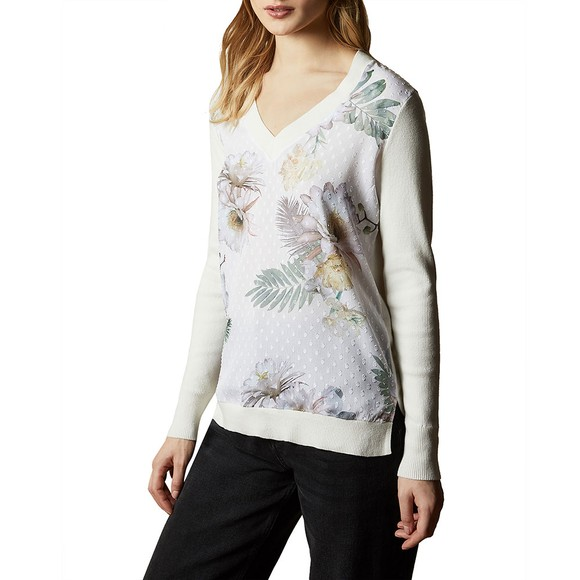 Ted Baker Womens Off-White Kaylaaa Woodland Woven Front Jumper main image