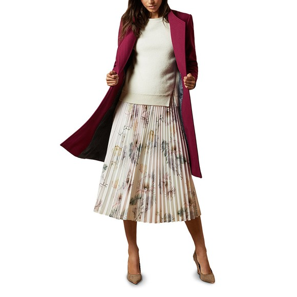 Ted Baker Womens Pink Maziiy Woodland Pleated Skirt main image