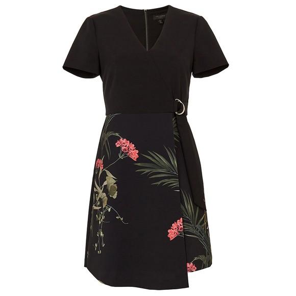 Ted Baker Womens Black Mizalia Highland Wrap Detail Skater Dress