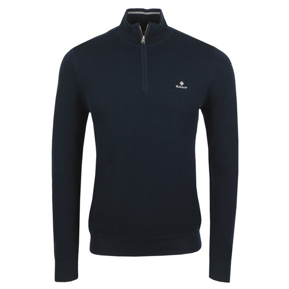 Gant Mens Blue Cotton Pique 1/2 Zip