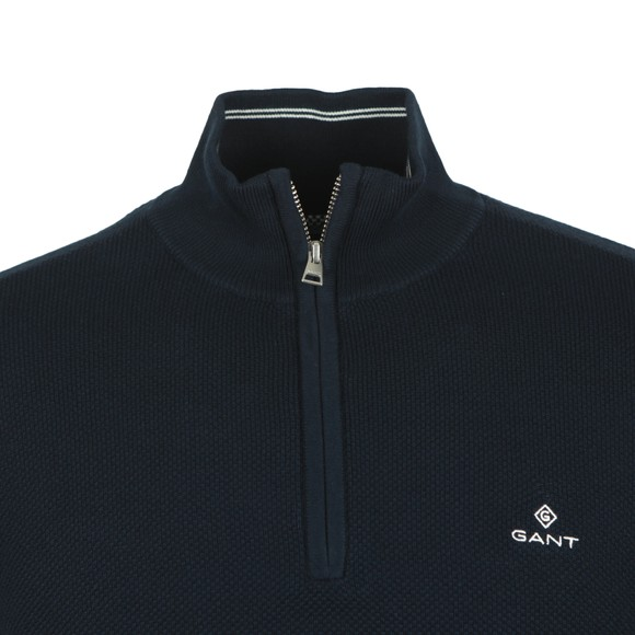 Gant Mens Blue Cotton Pique 1/2 Zip main image