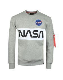 Alpha Industries Mens Grey NASA Inlay Sweatshirt