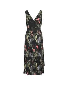 Ted Baker Womens Black Malinae Highland Tiered Pleated Midi Dress