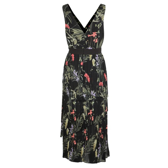Ted Baker Womens Black Malinae Highland Tiered Pleated Midi Dress main image