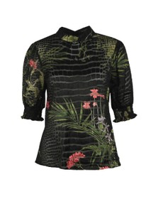 Ted Baker Womens Black Elligan Highland Blouson Puff Sleeve Top