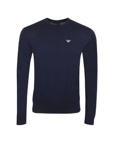 Emporio Armani Mens Blue Embroidered Eagle Logo Jumper