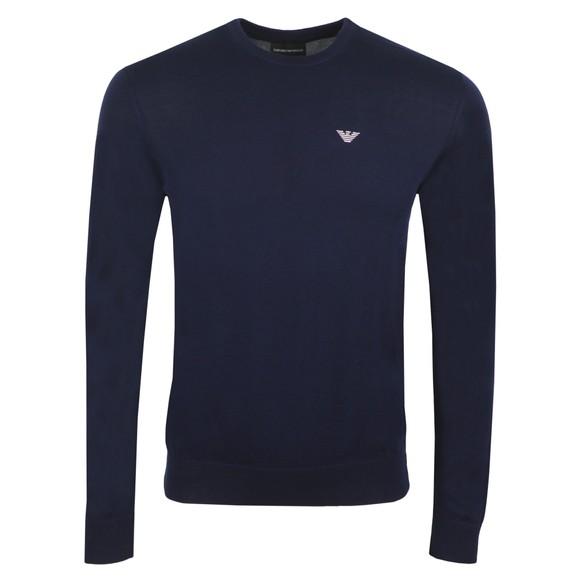Emporio Armani Mens Blue Embroidered Eagle Logo Jumper