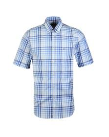 Paul & Shark Mens Blue Check Button Down Short Sleeve Shirt