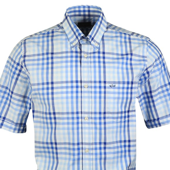 Paul & Shark Mens Blue Check Button Down Short Sleeve Shirt