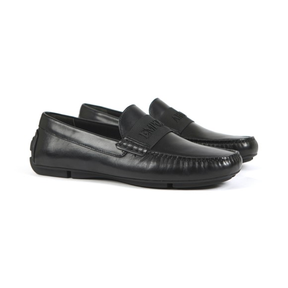 Emporio Armani Mens Black Logo Leather Driving Shoe main image