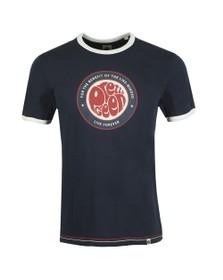 Pretty Green Mens Blue Likeminded Print T-Shirt