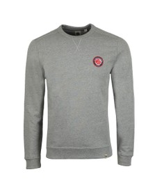 Pretty Green Mens Grey Likeminded Chest Badge Sweatshirt