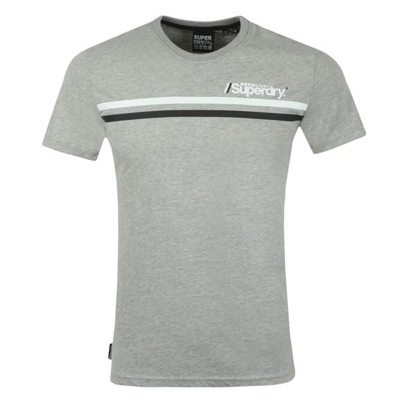 Superdry Mens Grey Core Logo Sport Stripe T-Shirt