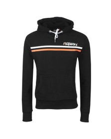 Superdry Mens Black Core Logo Sport Stripe Hoodie