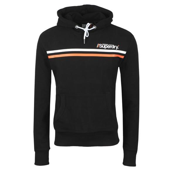 Superdry Mens Black Core Logo Sport Stripe Hoodie